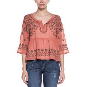 Free People Pennies Sequel Emroboidered Top
